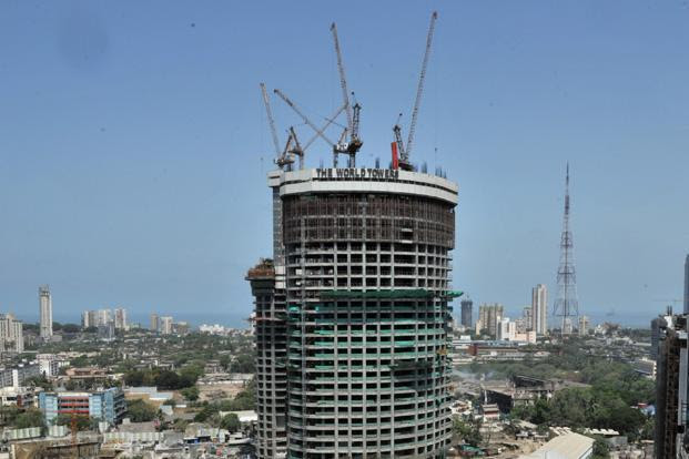 At the World Towers project in Upper Worli of Lodha Developers Ltd, homes are priced between `12 crore and upwards of `100 crore in three towers, World One being the most expensive. Photo: