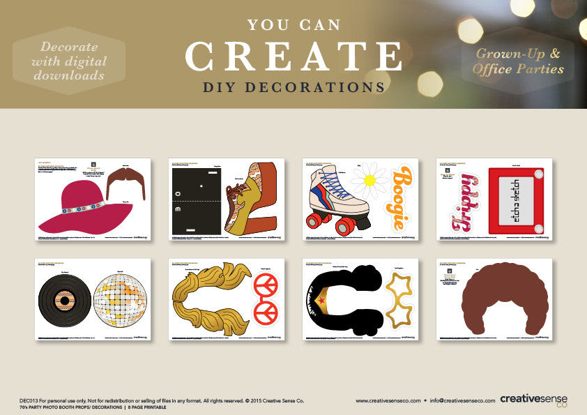 70s Photo Booth Props Printable   INSTANT DOWNLOAD – Creative ...