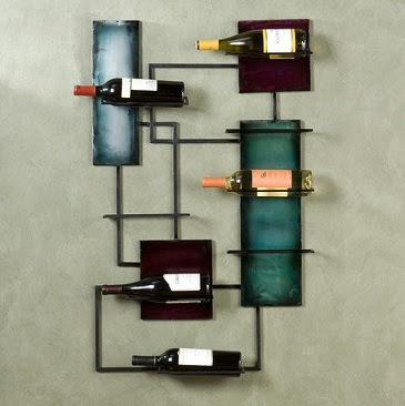 Wine Bottle Holder Metal Wall Sculpture Squares And Rectangles