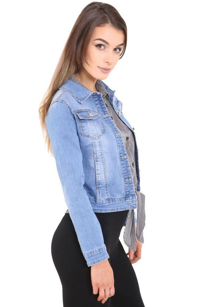 new womens ladies long sleeve denim jacket cropped jean