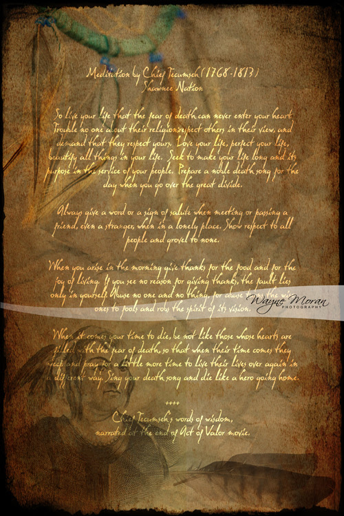 Tecumseh Poem From Act Of Valor Movie Wayne Moran Photography