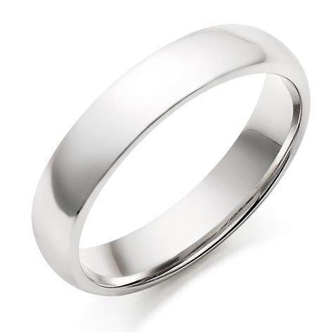 Men's 18ct White Gold Plain Wedding Ring   0005044