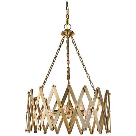 """Feiss Hugo 22 1/4"""" Wide 4-Light Bali Brass Pendant"""