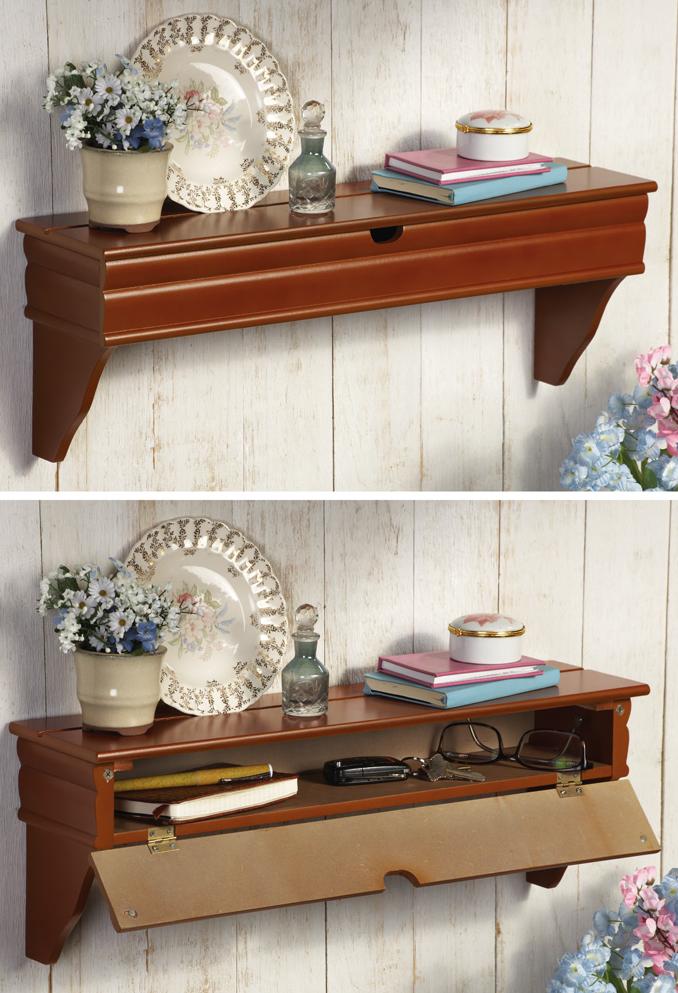 Wall Shelf with Hidden Storage