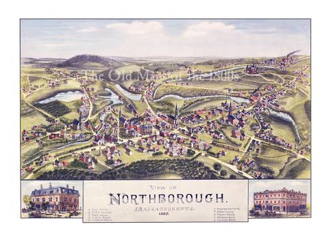 Northborough Massachusetts In 1887 Birds Eye View Map
