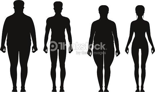 脂肪と薄い人々 のシルエット太りすぎの人と太った女性を減量します