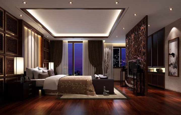 3-Dark-hardwood-flooring-ideas-for-bedroom-with-pop-ceiling-designs