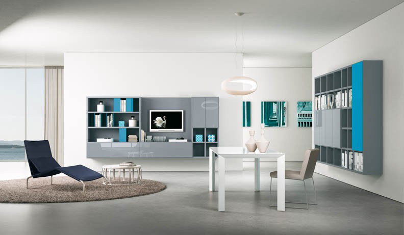 Grey and Turquoise Modern TV wall Mounted Shelves - Interior ...