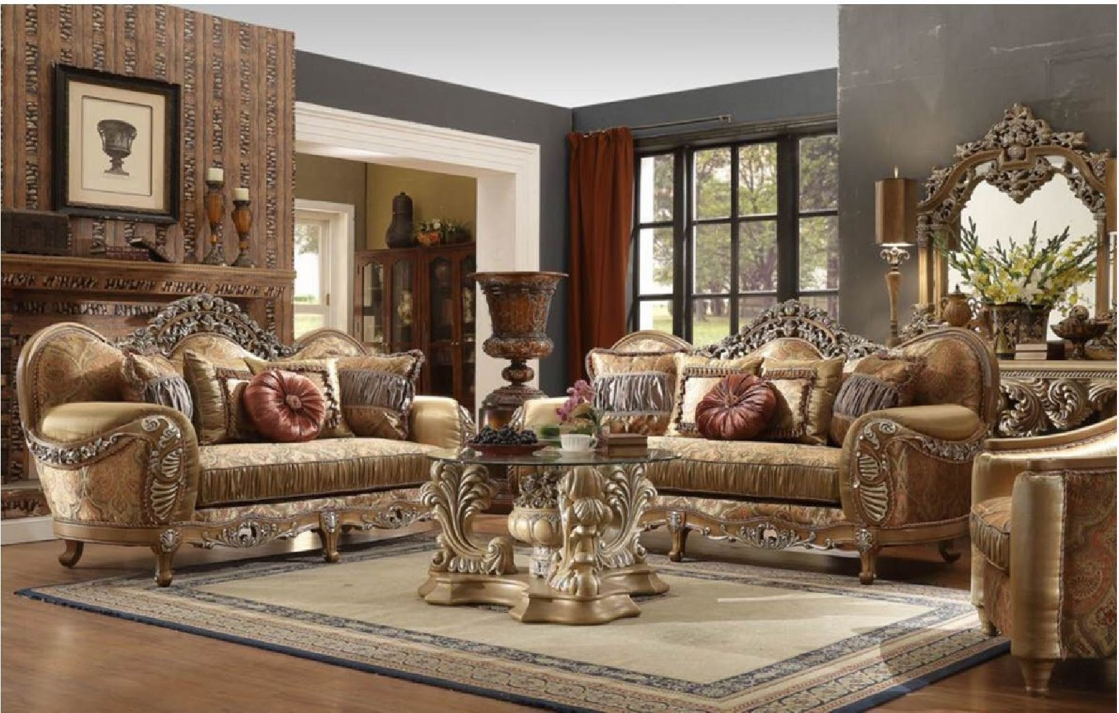 HD 622 Homey Design upholstery living room set Victorian ...