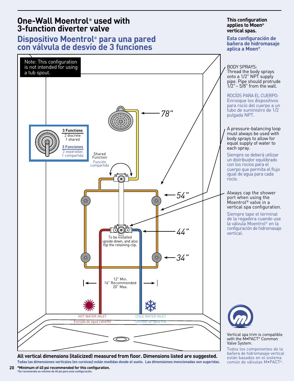 One Wall Moentrol Moen Vertical Spa Mf2816 User Manual Page 20