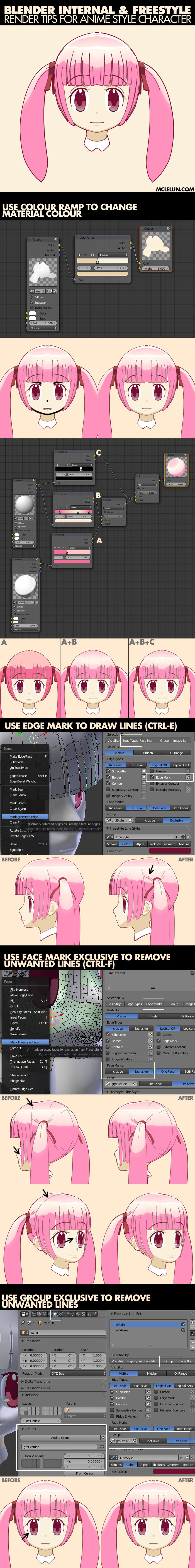 blender3d freestyle anime character tips