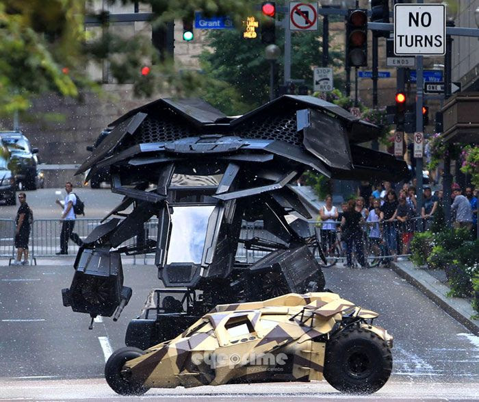 The Batwing pursues the Tumbler during filming of THE DARK KNIGHT RISES.