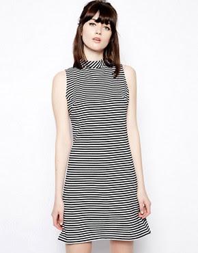 Image 1 ofPop Boutique Sleeveless Swing Dress in Stripe
