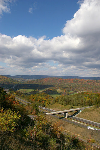 I-68 and Autumn leaves, as seen from the old National Road