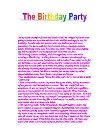 Autobiography The Birthday Party Gcse English Marked By
