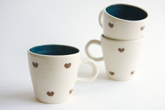 Brown and Teal Ceramic Cup- heart design by RossLab