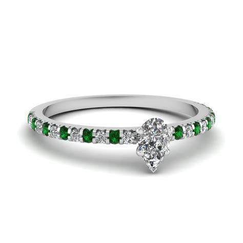 Small Pear Affordable Diamond Engagement Ring With Emerald