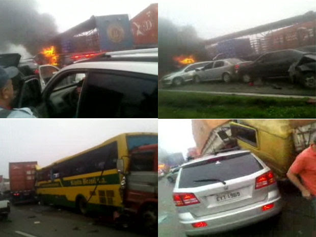 Acidente envolveu cerca de 50 veículos, segundo a Polícia Rodoviária Estadual (Foto: Reprodução/Globo News)