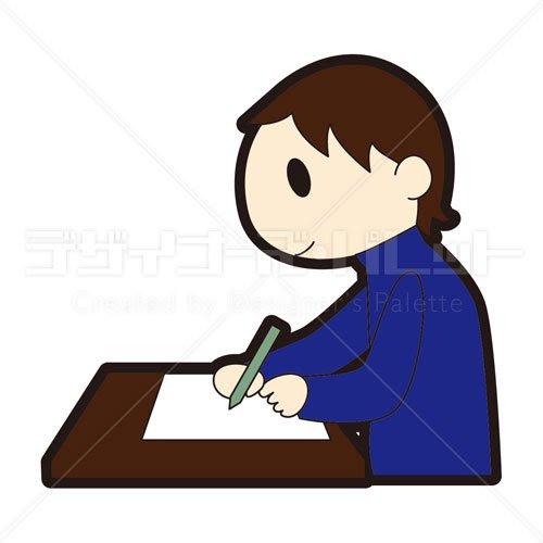 手紙を書く男性 イラパレロイヤリティフリーのストックイラスト