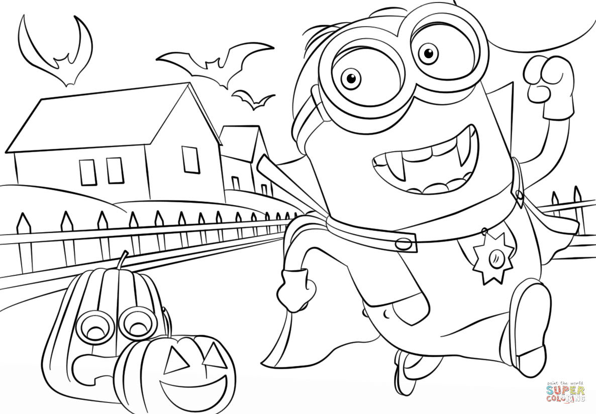 Download Minions Hallowen coloring page | Free Printable Coloring Pages