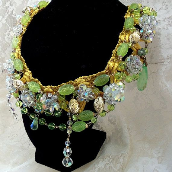 Crystal Statement Necklace, Gold, Kiwi, n Swarovski, Vintage Spring Fling Accessory, Couture Bling Date Night Neck Piece