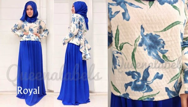 Queena Prisia Royal Blue Baju Muslim GAMIS Modern