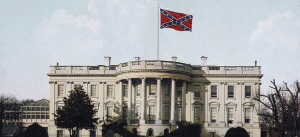 The Confederates capture Washington? That's just one of the clever bits of fiction that Churchill conjured up in his 1931 essay (Photo Illustration by Vertis Communications; White House: Library of Congress; Confederate Flag: Thinkstock).