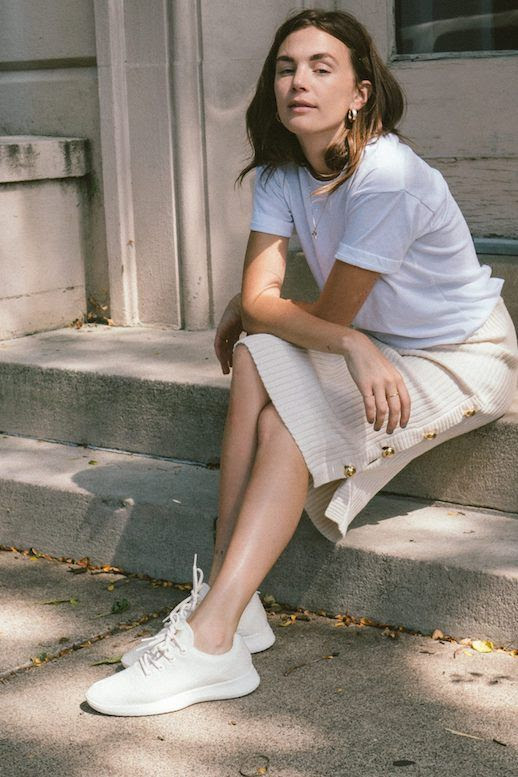 Le  Fashion  Blog  White  T  Shirt  Gold  Earrings  Cream  Knit  Midi  Skirt  White  Sneakers  Via  Wide  Eyed  Legless Fall Outfit Idea