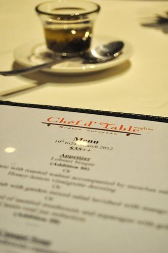 chef d'table menu