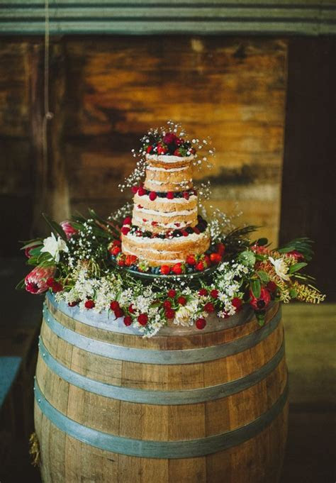 elegant rustic wedding, cake stand using oak barrel, naked