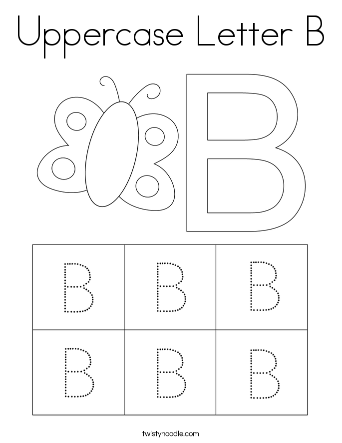 Uppercase Letter B Coloring Page - Twisty Noodle