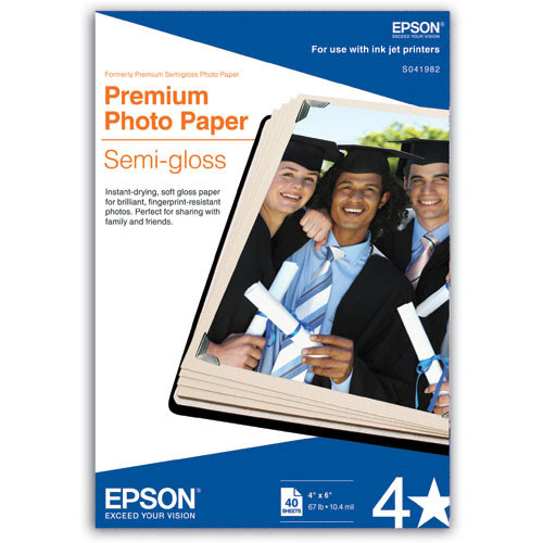 "Epson Premium Semi-Gloss Photo Paper for Inkjet 4x6"" - 40 Sheets"
