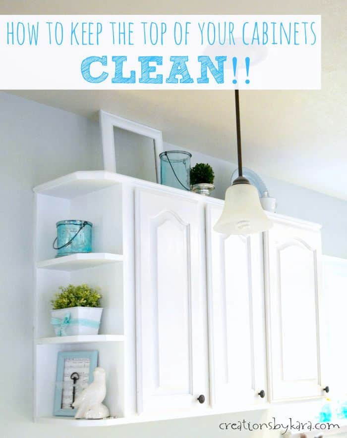 cleaning the tops of cabinets
