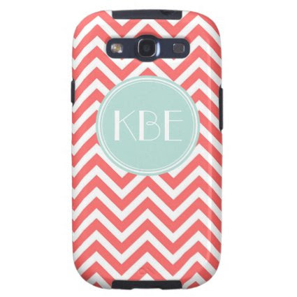 Coral & Mint Chevron Custom Monogram Galaxy S3 Covers