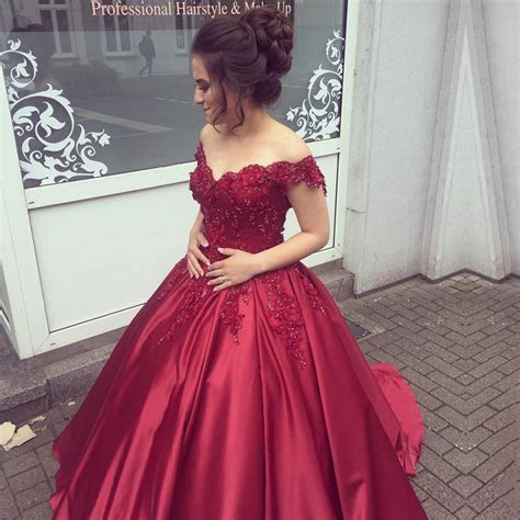 Elegant V Neck Lace Off Shoulder Ball Gowns Satin Dress