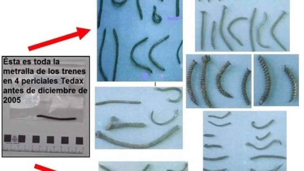 Súbita aparición en diciembre de 2005 de 21 tornillos y 32 clavos inexistentes para las cuatro periciales sobre metralla realizadas anteriormente.