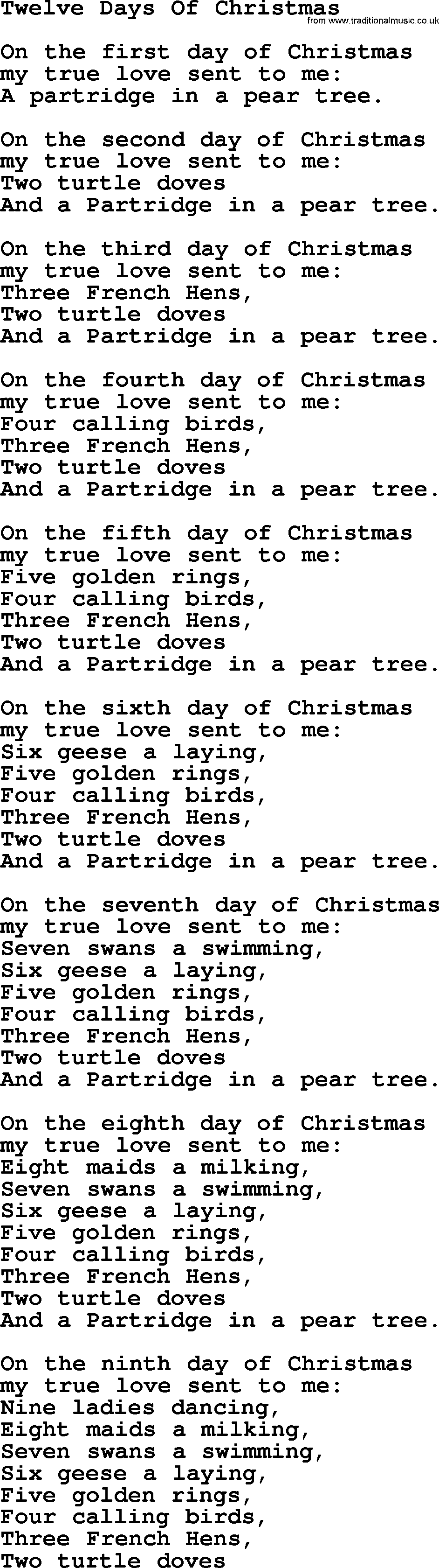 catholic hymns song twelve days of christmas lyrics - 12 Days Of Christmas Lyrics