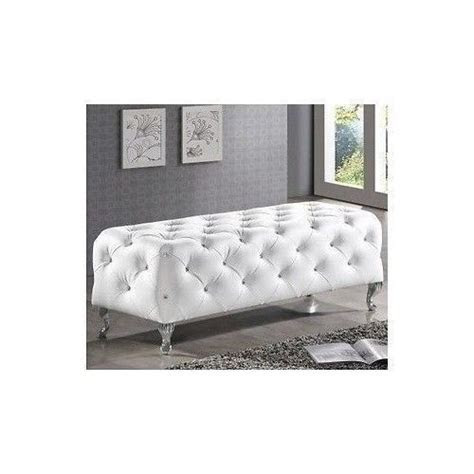 White Faux Leather Crystal Tufted Chrome Legs Bench