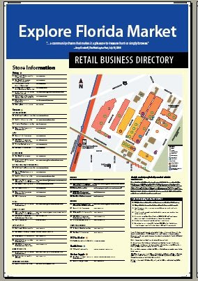 Explore Florida Market directory and history signage, side 1