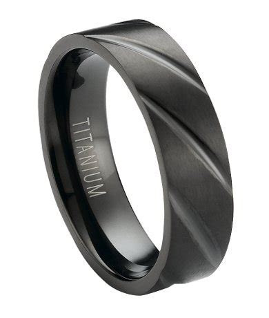 6mm Men's Matte Finished Black Titanium Wedding Band with