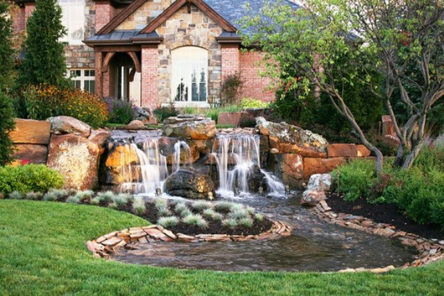 Healthy and Relaxing Cottage Garden In a Simple Waterfall ...