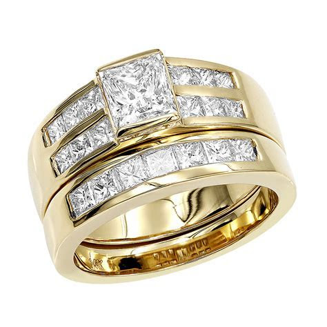 14K Gold 2 Carat Princess Cut Diamond Engagement Ring