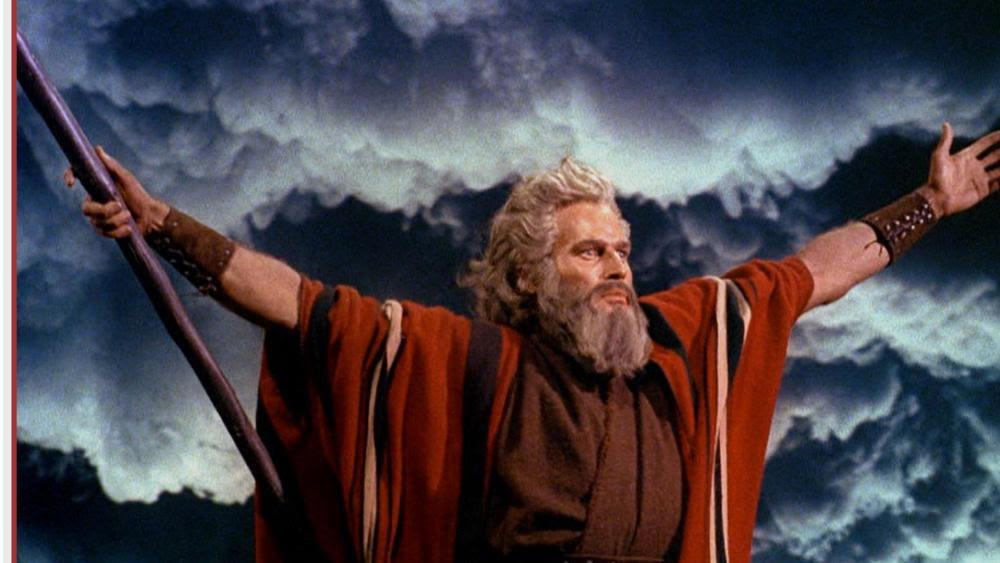 "Screenshot of Charlton Heston as Moses from the trailer for Cecil B. DeMille's 1956 epic ""The Ten Commandments."" (Image credit: Paramount/Wikipedia)"