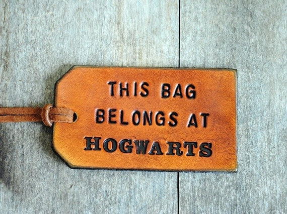 This Bag Belongs At Hogwarts.  Ready-Made Leather Luggage Tag.  Immediate Shipping.