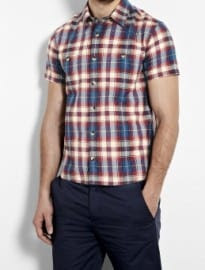A.p.c. Madras Red Navy Plaid Short Sleeve Shirt