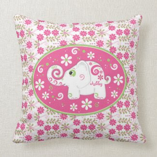 Personalized Pink Green Elephant Daisy Floral throwpillow