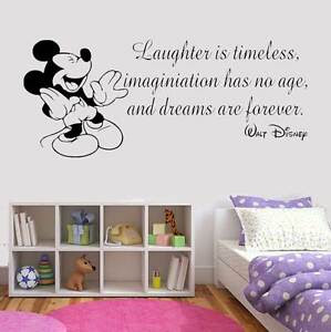 Disney Style Quote Mickey Minnie Vinyl Wall Art Sticker Quote Mural Home Art UK