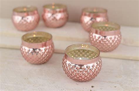 12 Rose Blush Mercury Glass Votive Holder Rose Gold 2in