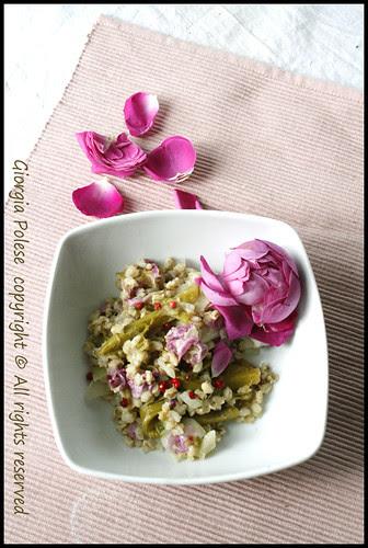 risotto integrale asparagi rose e pepe