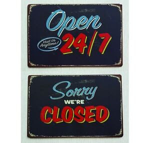 Sorry 7 Bar rustic sign Sign Retail Closed Tin Art Open Were 24  open Metal   closed Rustic Retro
